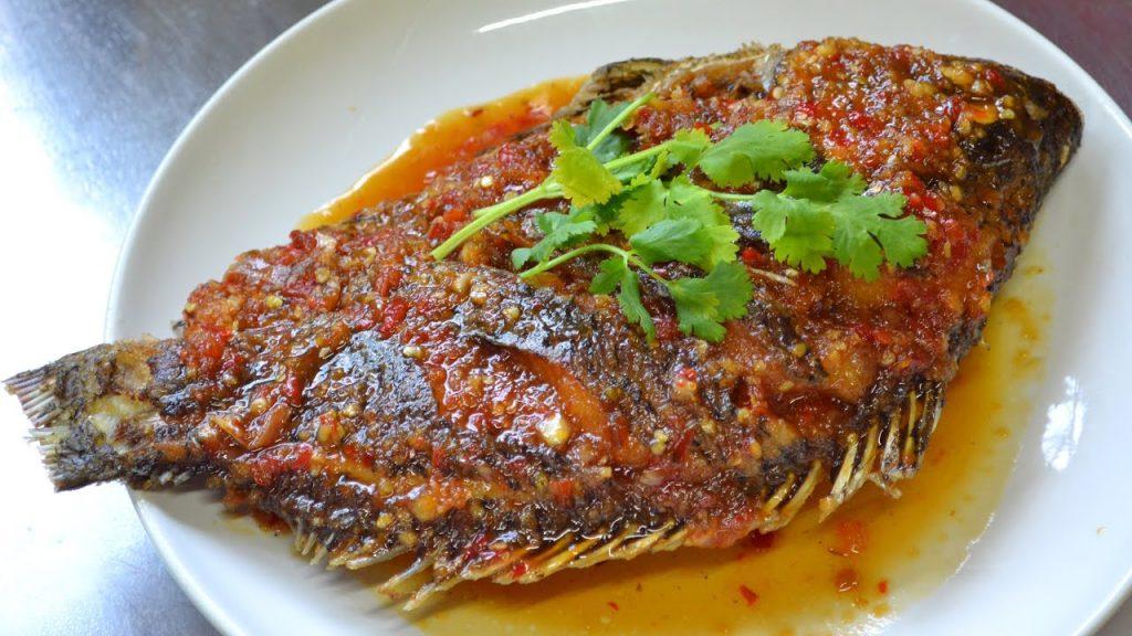 เมนู ปลาทับทิมราดพริก น้ำจิ้มราดแสนอร่อย